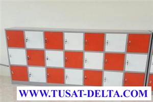 Tủ sắt đựng đồ học sinh 21 ngăn màu cam - trắng